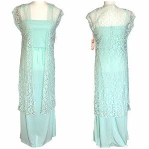 NWT Vintage 60s Mint Maxi Dress with Lace Duster